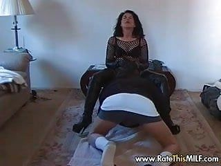 Non-professional milf in bodystockings face sitting