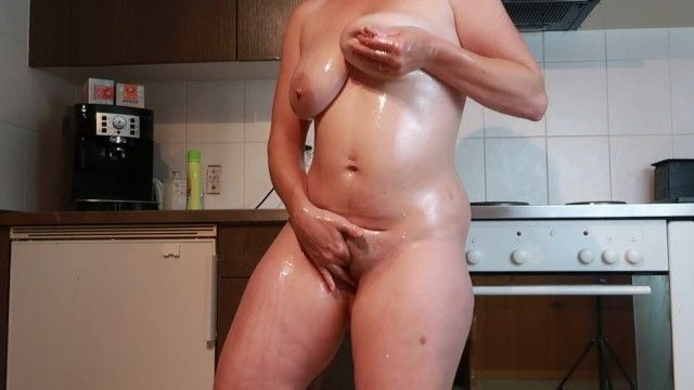 Lactating milf milky pantoons masturbation in the kitchen