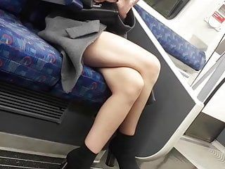 Candid milfs hawt crossed legs on the tube