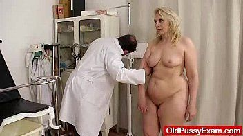 Blond-haired bulky milf explored by vagina doctor