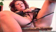 Sleazy milf in underware copulates a sex tool