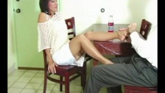 Sexy milf roni gives her guy a nylon footsie over dinner