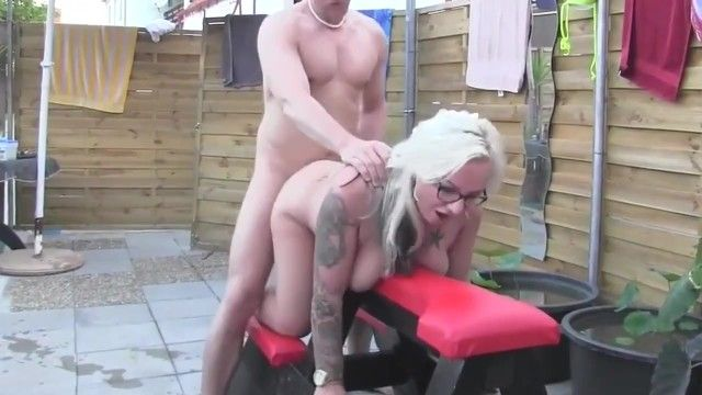 Curvy milf non-professional with glasses copulates stud at pool party