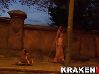 Strange movie of masked guy and hawt milf in public krakenhot
