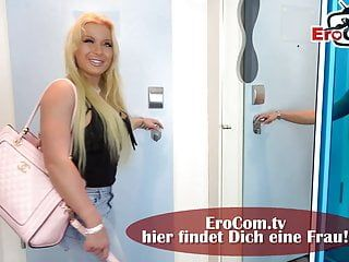 German tall slender miniature golden-haired milf receive creampie at mirror