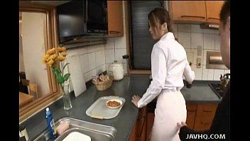 Japanese legal age teenager receives pumped in the kitchen uncensored