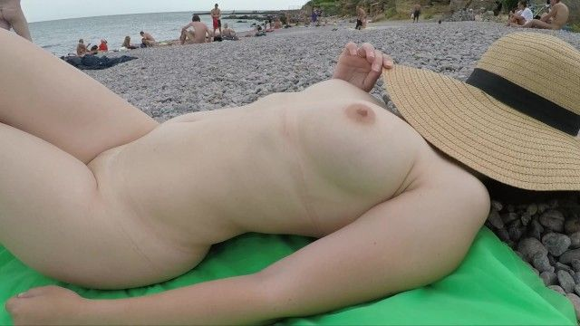 Public exhiibitions non-professional bebe - sexy hot lady at naked beach - that babe is wearing merely a hat