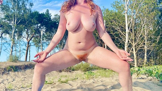 Undressed shaggy ginger cookie beach yoga stretch large milk sacks curvy dilettante redhead milf risky public stripped